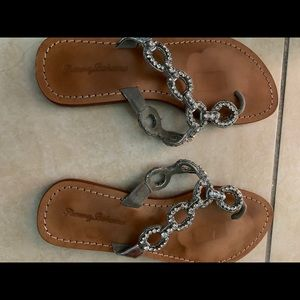 Tommy Bahama Shoes - Tommy Bahama leather rhinestone sandals size 8